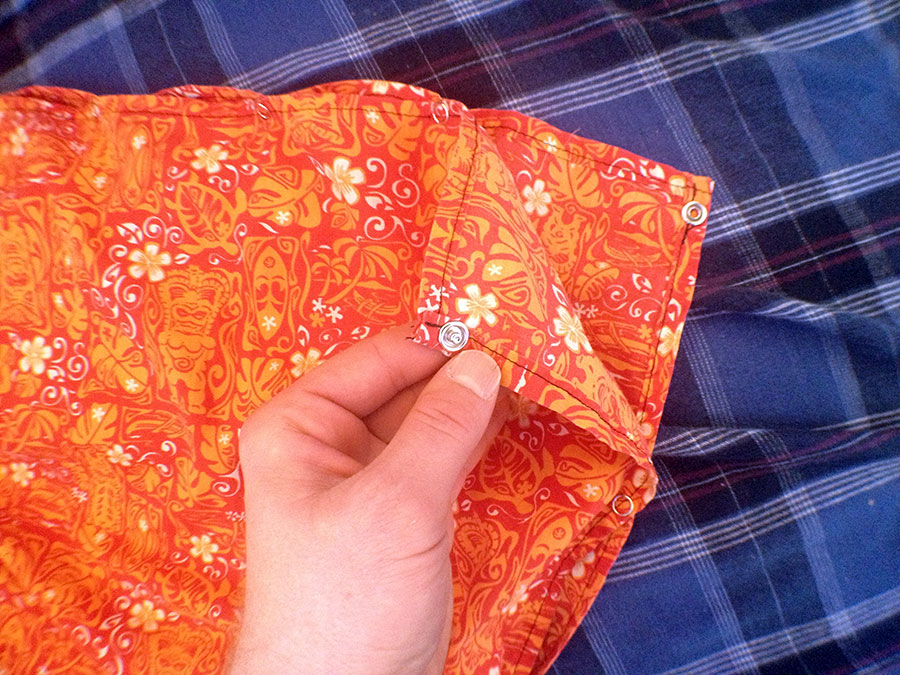 Snaps along the edge convert the lava-lava into a quilt liner with a foot box.