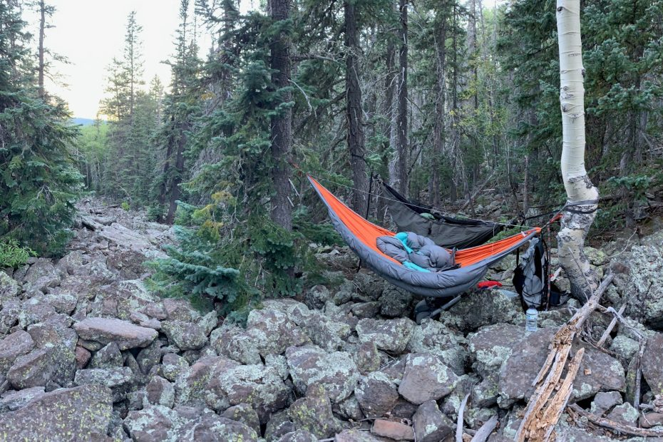 Hammock camping over a rock field