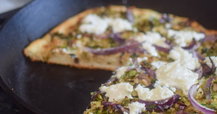 Brussels Sprout, Parmesan, and Burrata Skillet Pizza