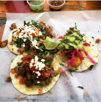 Mazunte tacos (veggie, fish, steak)