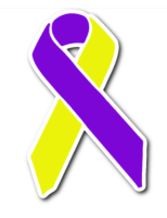 purple and yellow awareness ribbon