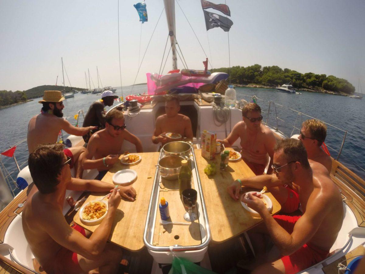 eating at Yacht Week Croatia