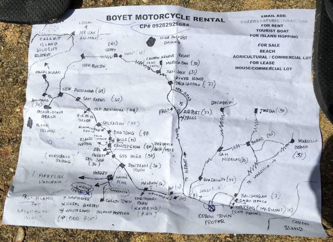 Boyet's hand-drawn treasure map of things to do in Coron, Palawan