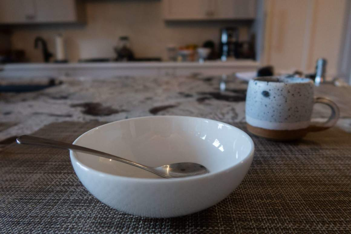 empty bowl and coffee for breakfast on a 3 day fast