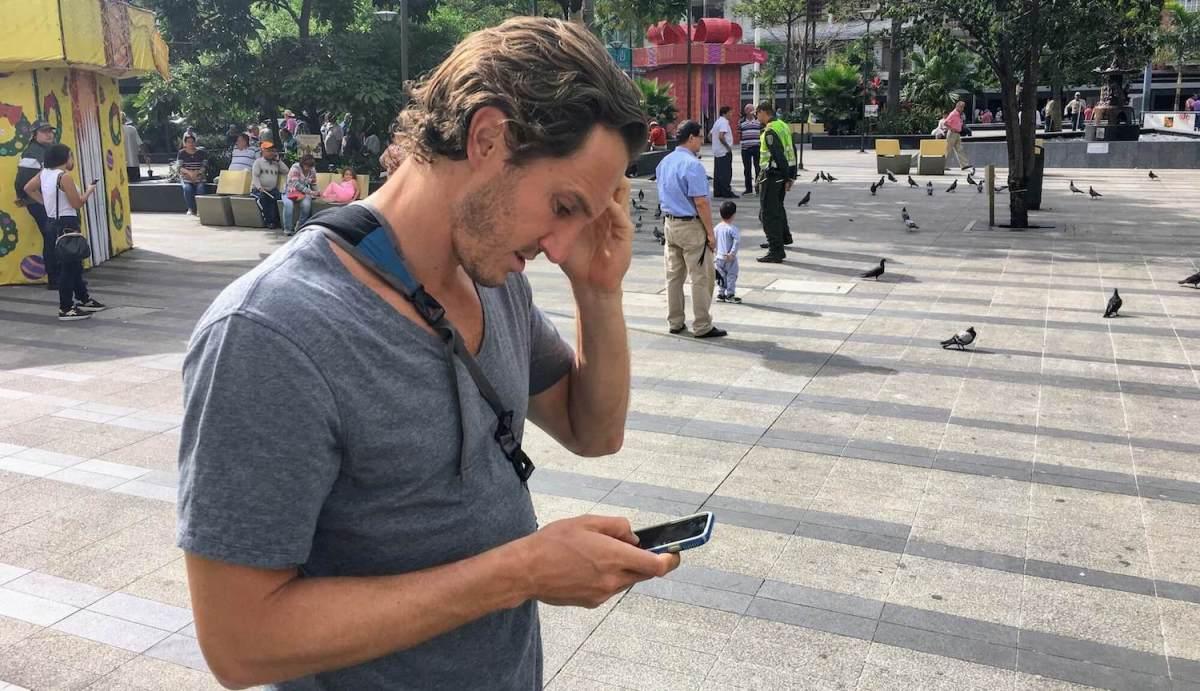Chris using dictionary app