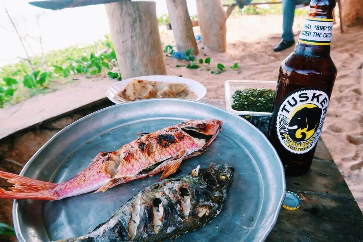 fish and beer on the Kilifi beach