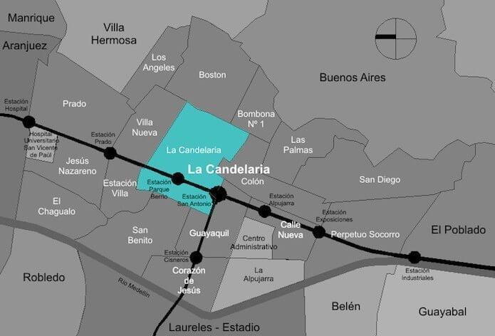 La Calendaria downtown Medellin neighborhood map