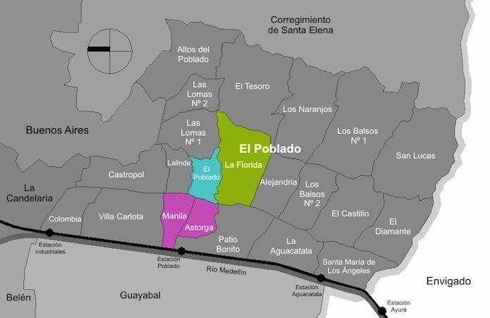 El Poblado, Medellin neighborhood map