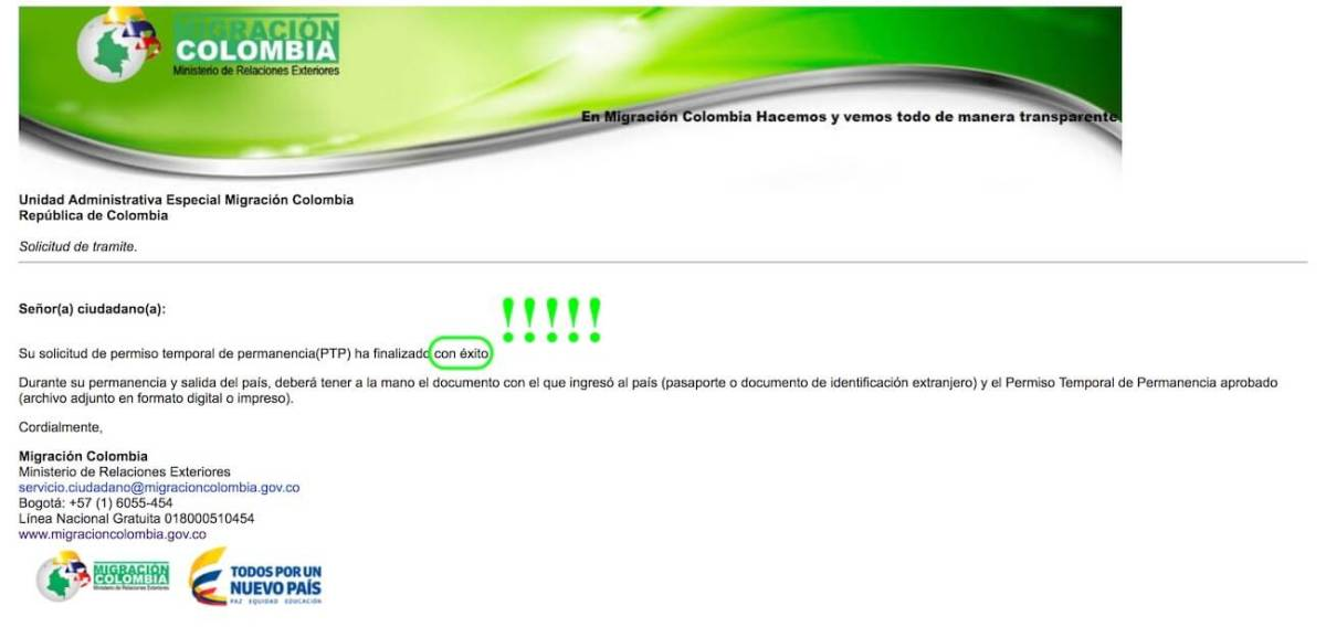 Screenshot of email confirming Colombia tourist visa extension