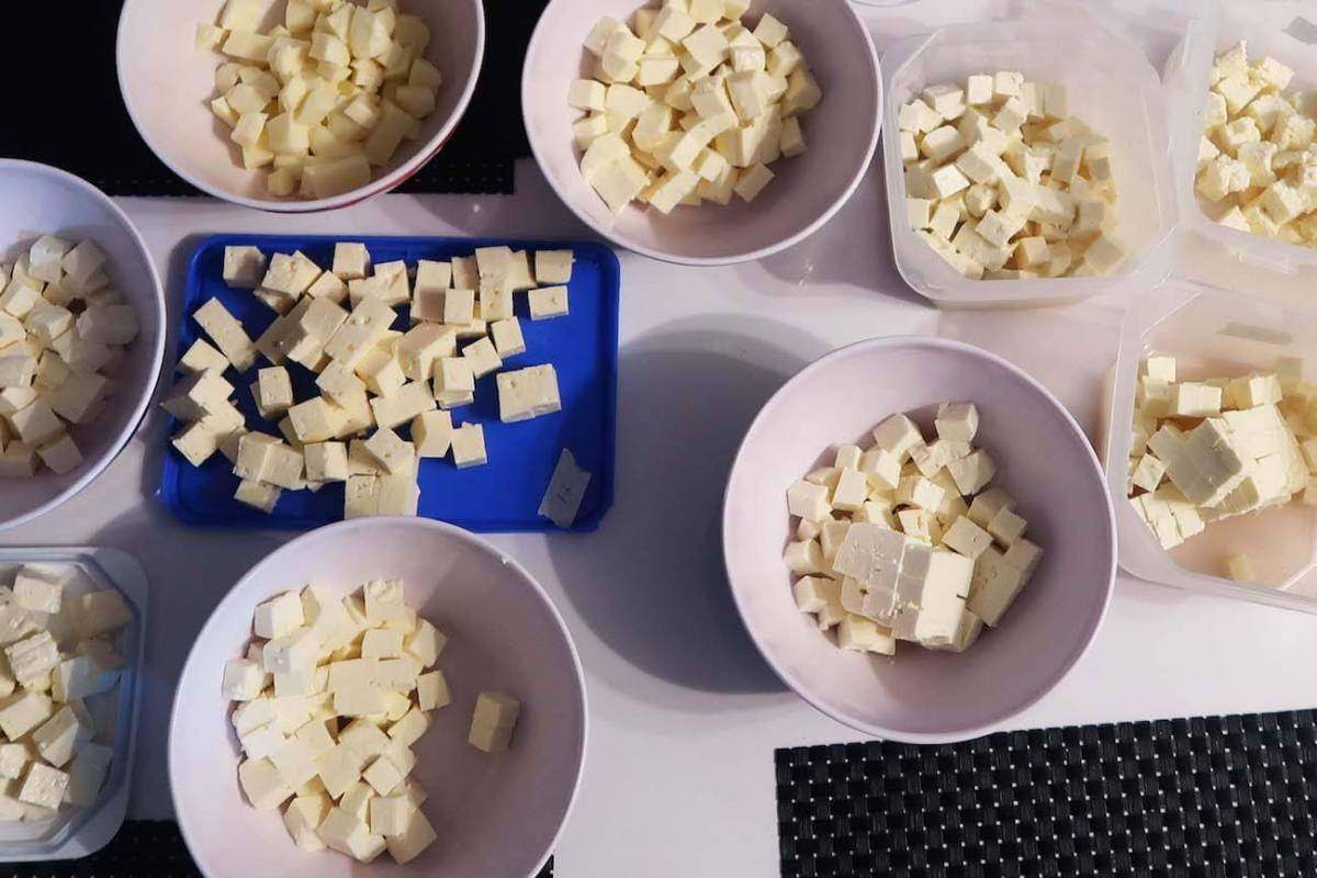 The Colombian cheeses set out for the taste test