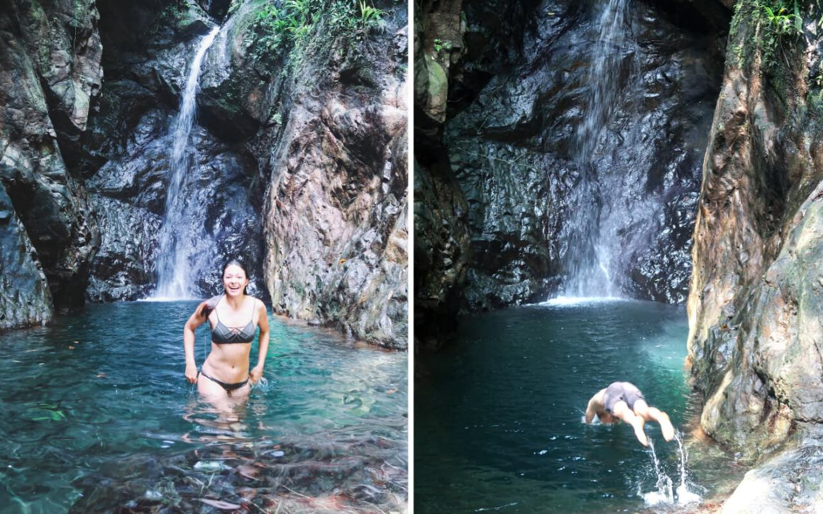airport waterfall bahia solano colombia's pacific coast