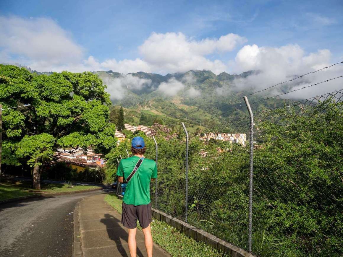 Chris in Bello looking at the Chorro del Hato waterfalls