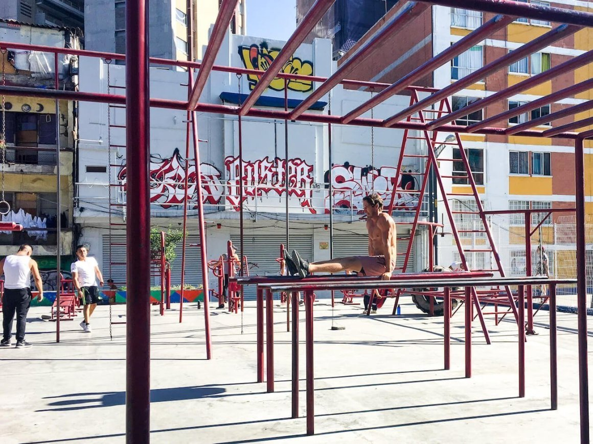 Outdoor workout area near Insurgentes station in Mexico city