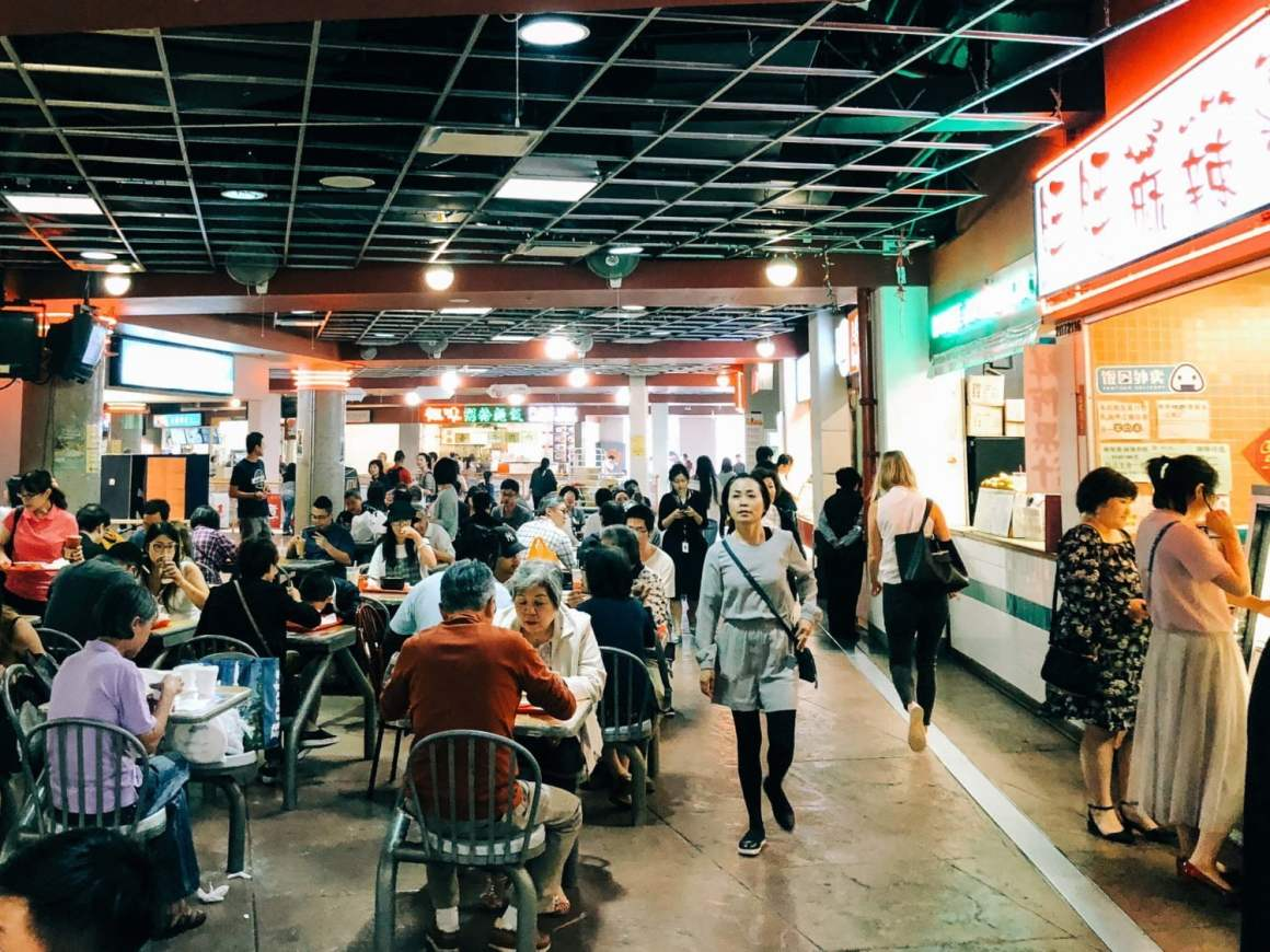 Diners and stalls at Crystal Mall