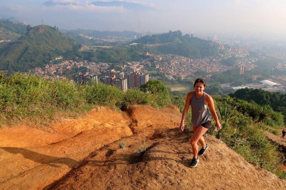 Kim hiking up Cerro de las Tres Cruces