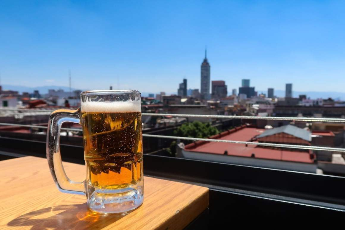 Mug of beer at Terraza Catedral rooftop bar