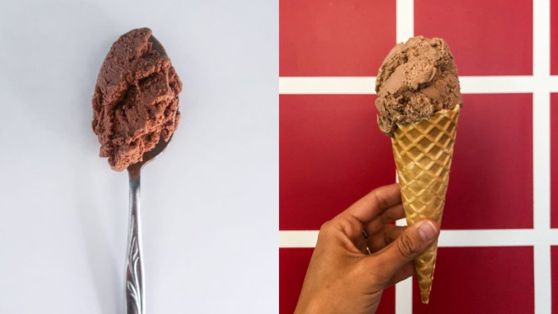 two chocolate ice creams side by side to find out the best ice cream in vancouver