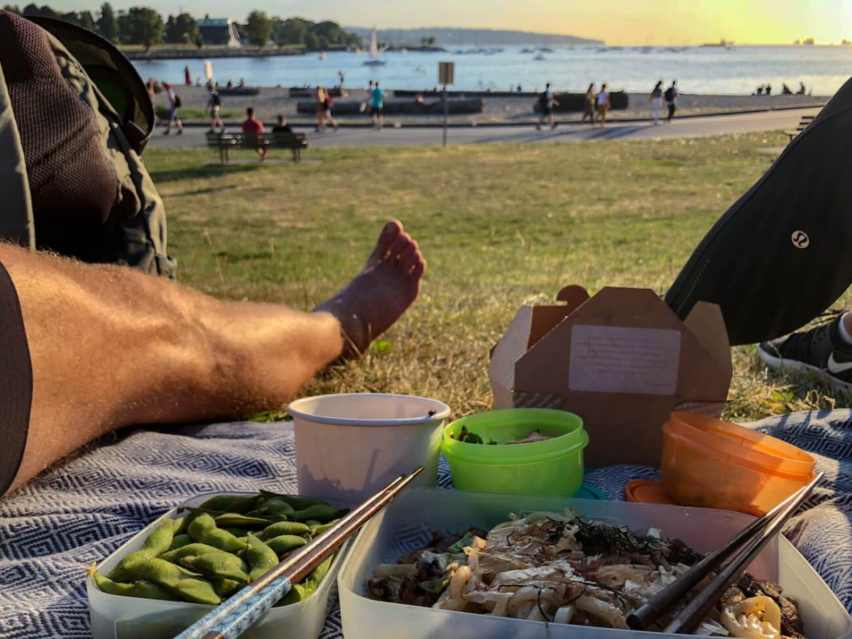 The food, sunset, and beach at a recent picnic we had at Sunset Beach