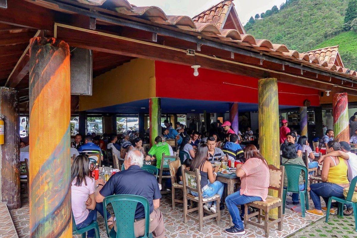Busy Truchera Arcoiris restaurant.
