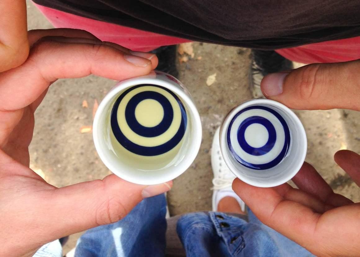 sake cups at saijo sake festival japan