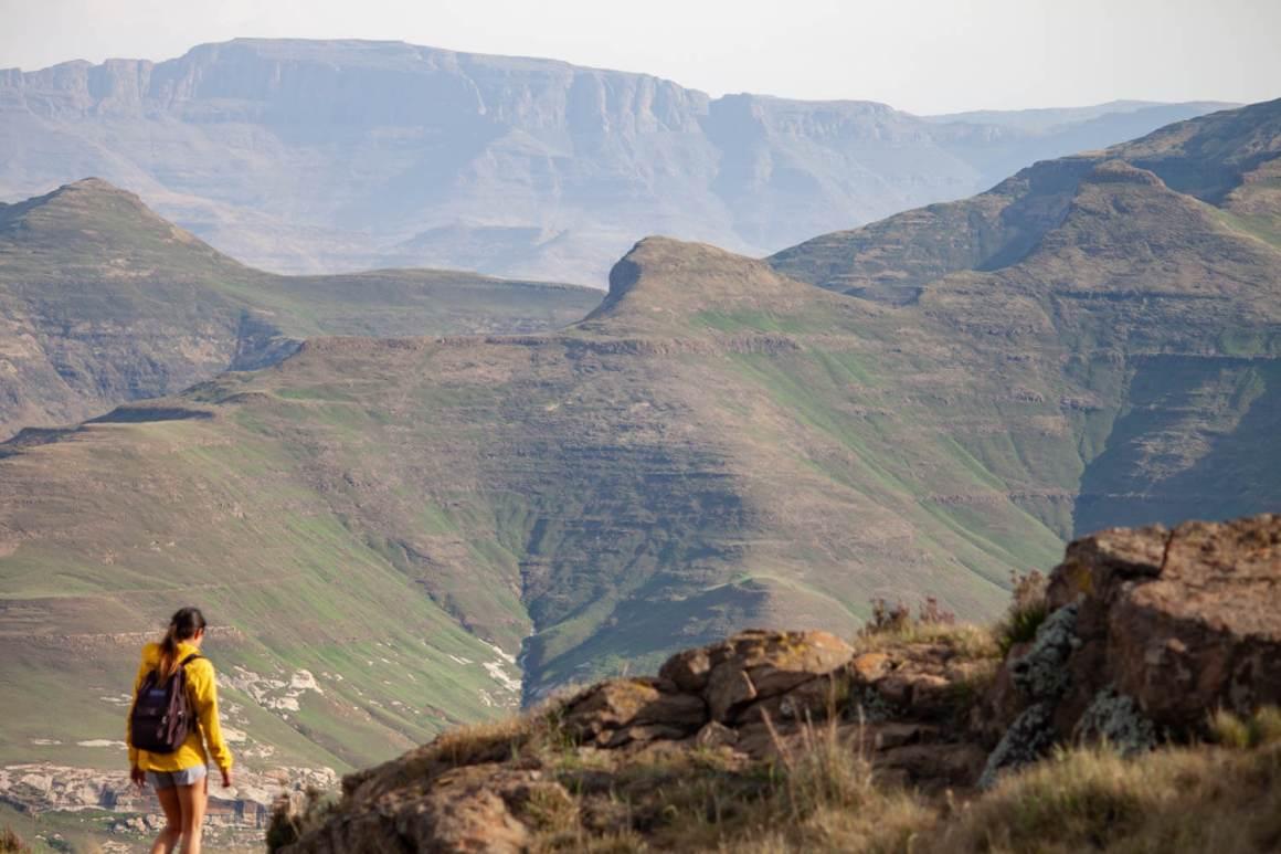 Impressive background as Kim hikes