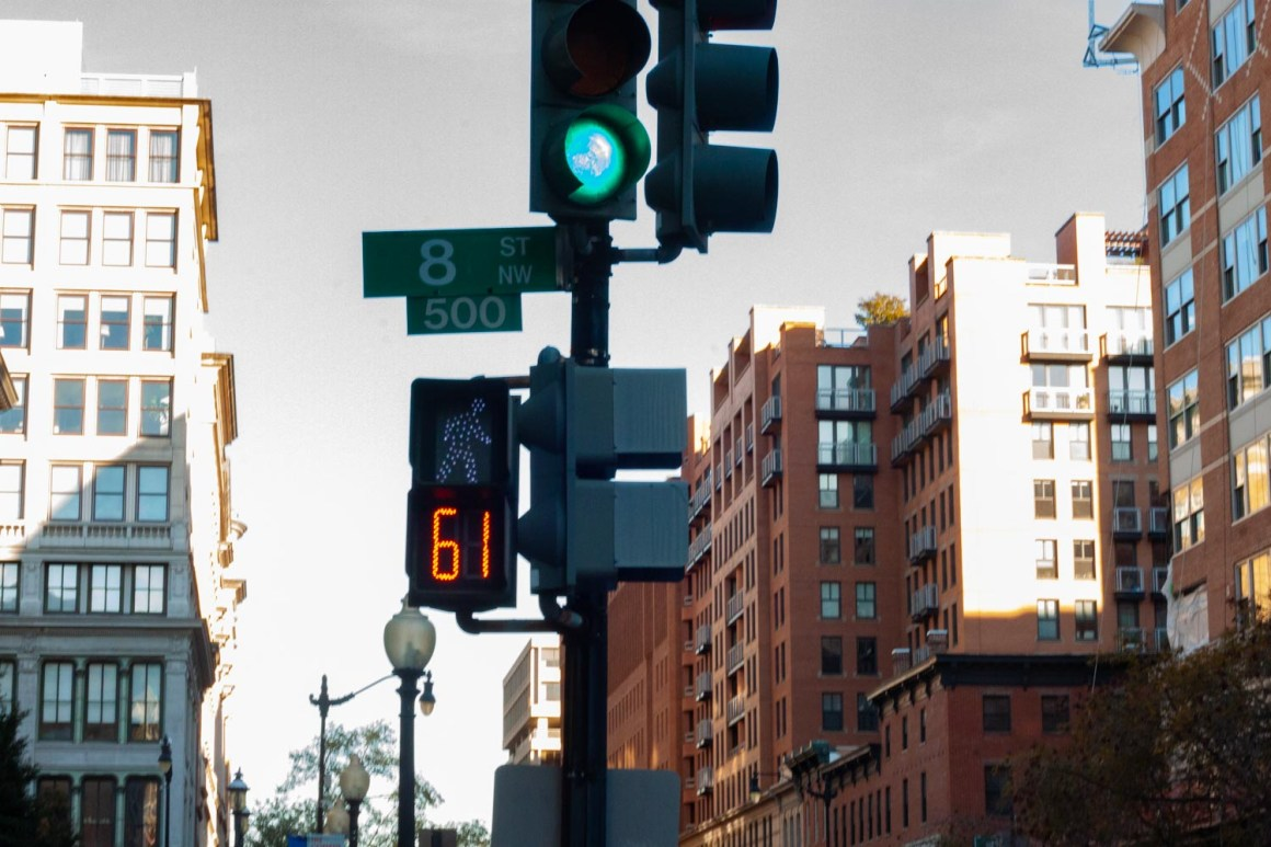 Close-up of crosswalk timer at a corner in D.C.