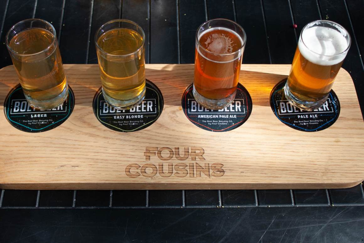 Beer tasting flight from Four Cousins in Robertson