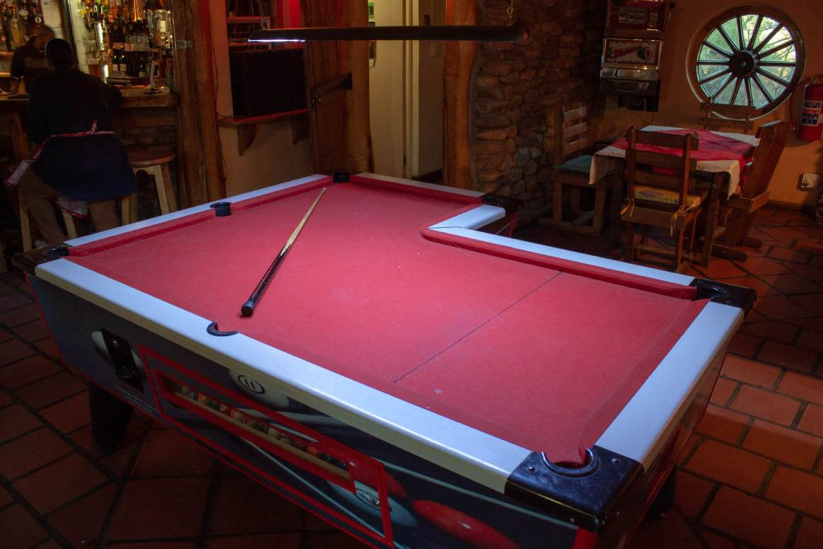Funny-shaped pool table at