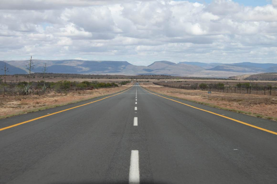Long desert highway through the Karoo
