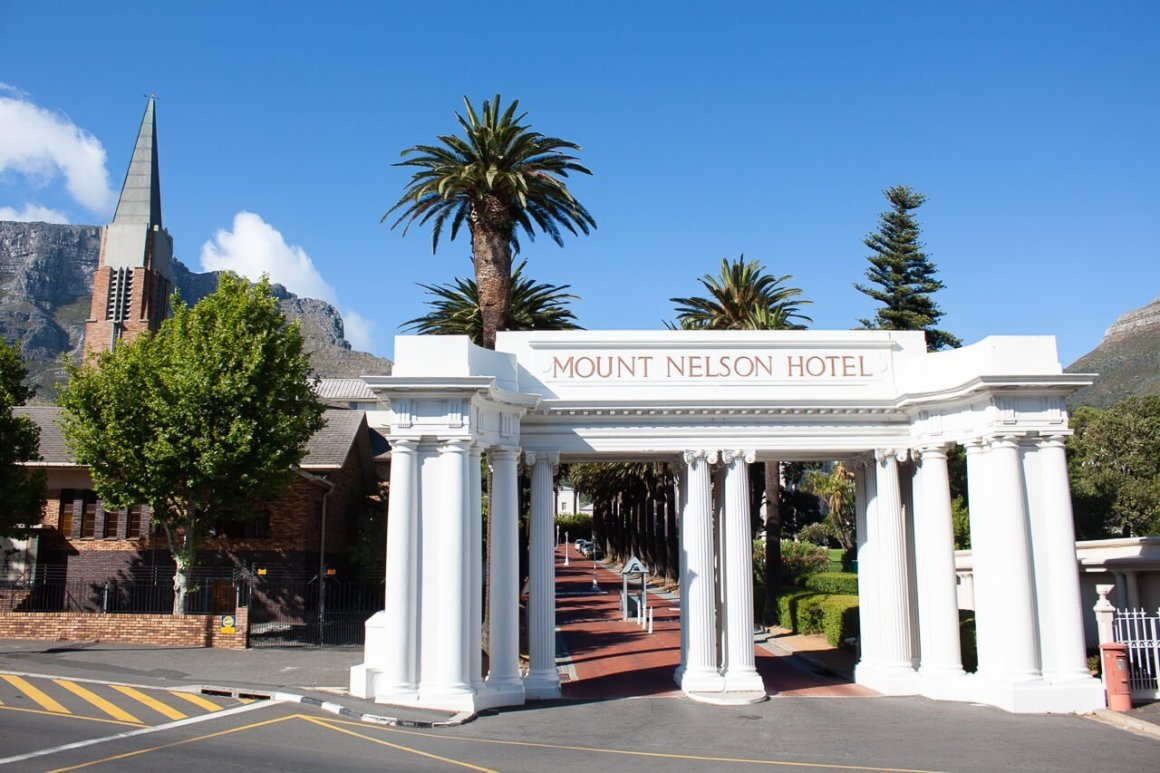 Mount Nelson Hotel viewed from the City Sightseeing tour bus