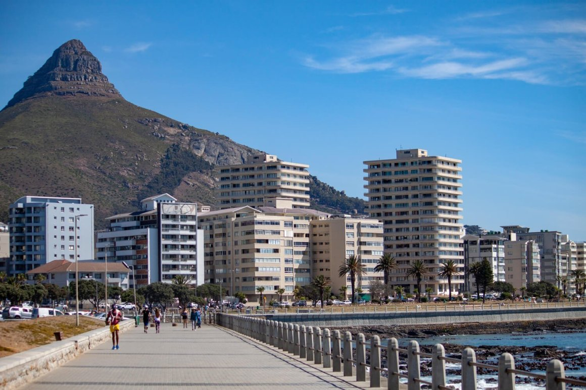 Apartment buildings in Cape Town's Sea Point neighborhood