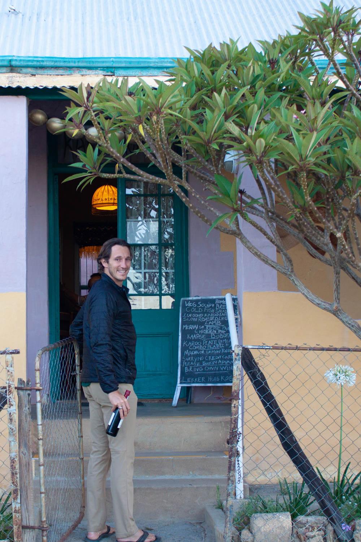 Chris walking into Karoo Kombuis