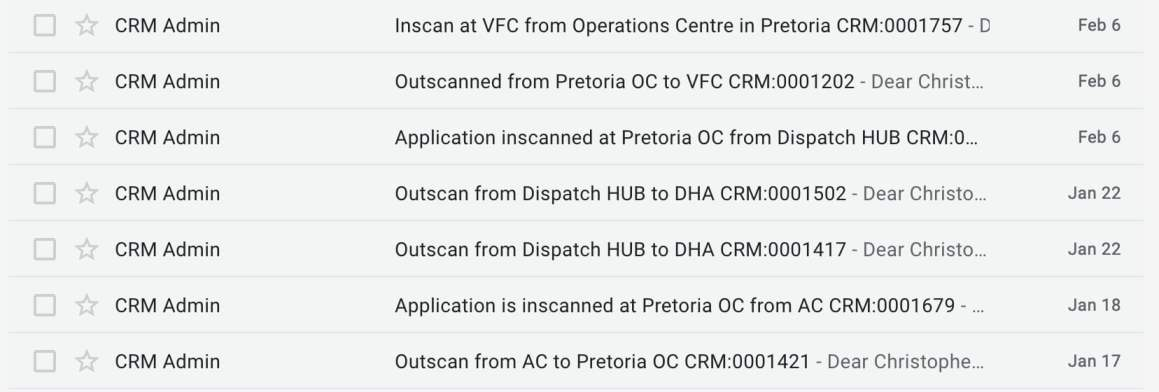 Screenshot of the 7 emails we got from VFS while awaiting word on whether our South Africa visa extension application would be approved.