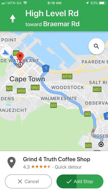 Example of using the trick to add a pitstop on Google Maps