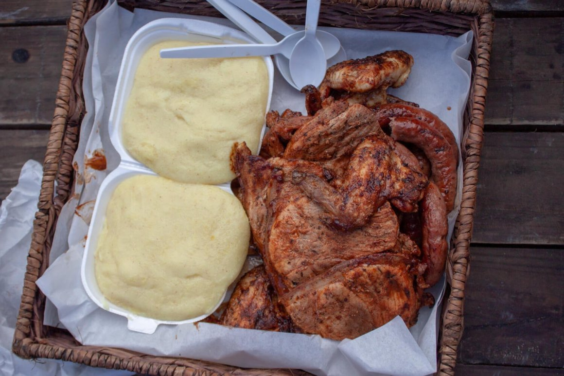 Close-up of meat and pap from Rands braai in Khayelitsha, Cape Town.