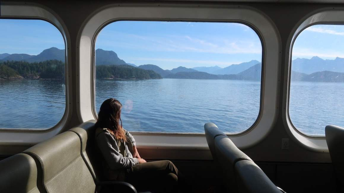 Kim on a ferry heading to Vancouver Island