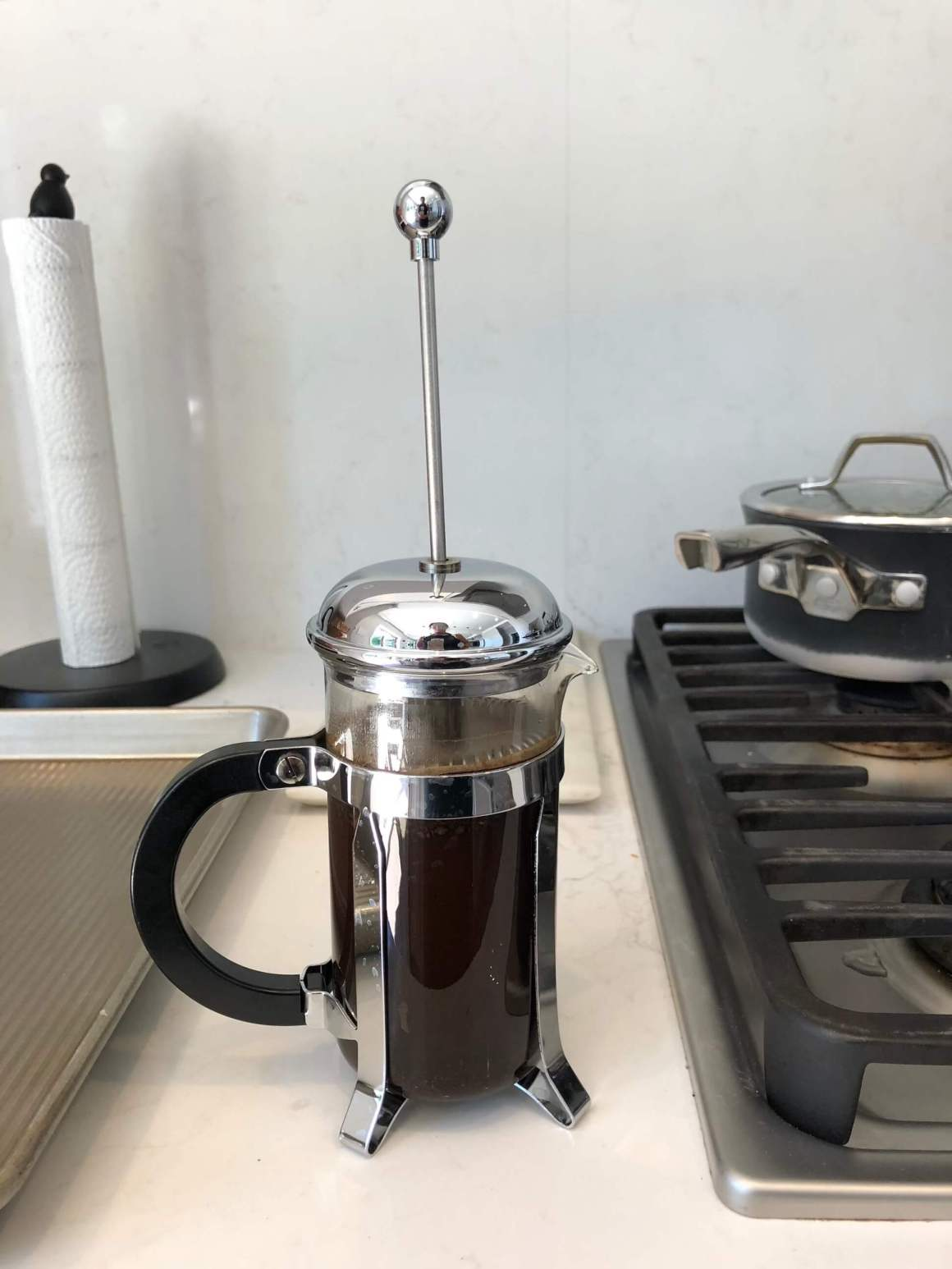 French press full of coffee