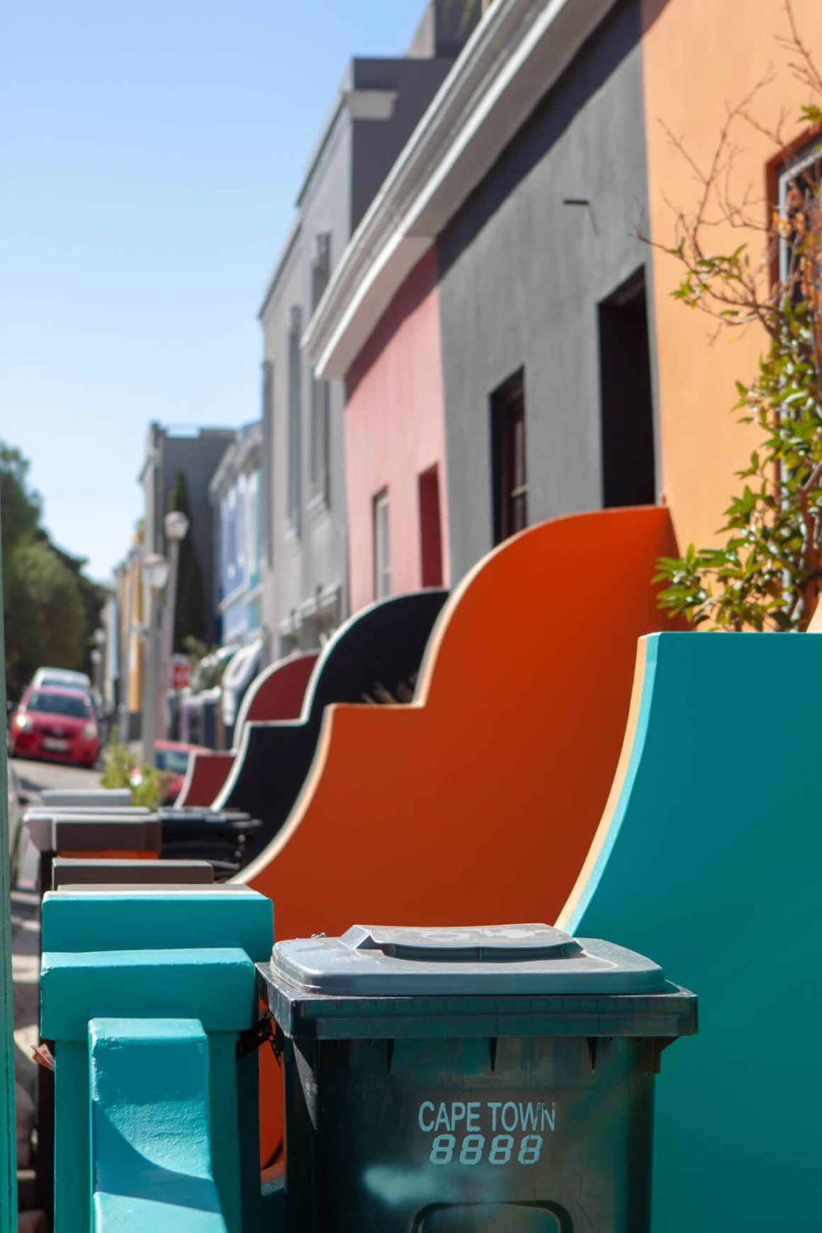 Colorful facades of houses in De Waterkant.
