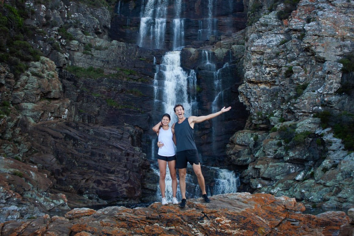 Kim and Chris in front of the waterfall at Stormsriver.