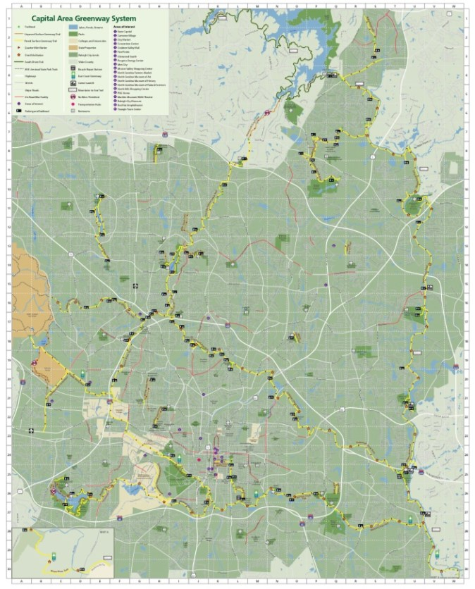 Map of Capital Area Greenway System to help with getting through covid-19