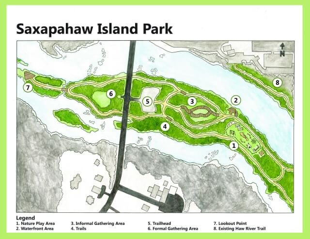 Saxapahaw Island Park Map to help with getting through COVID-19