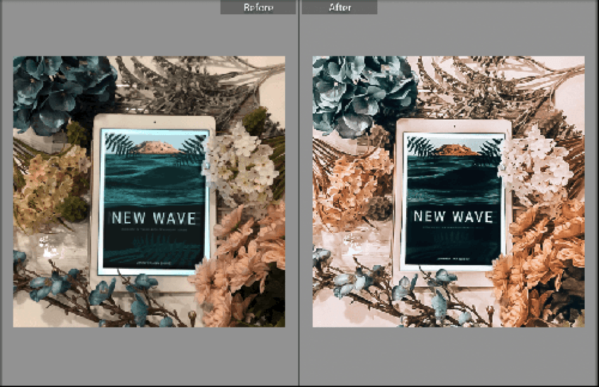 before and after bookstagram shots with filters applied in Lightroom