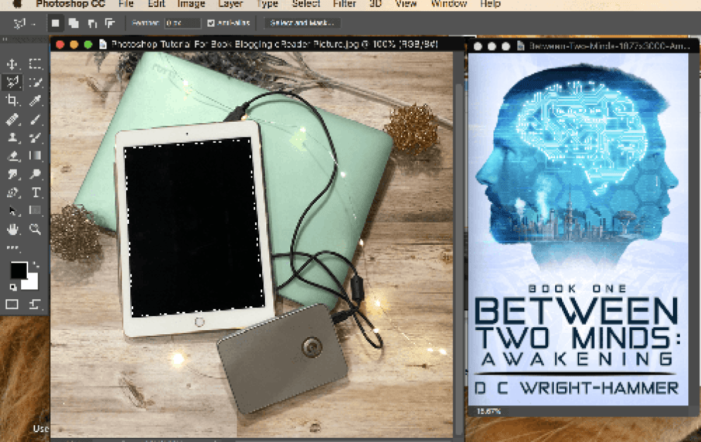 Screenshot of Adobe Photoshop with blank screen eReader and Between Two Minds Book Cover