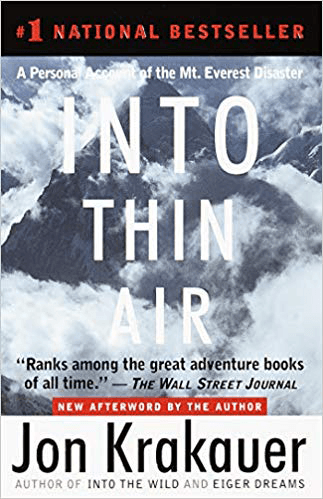 Popular Travel Writers Book Cover of Into Thin Air by Jon Krakauer