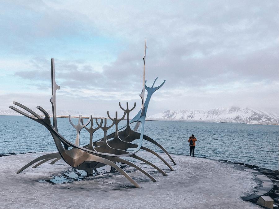 Iceland Sun Voyager metal sculpture of ship in Reykjavik