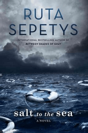 Salt to the Sea by Ruta Sepetys Hard Book Cover with blue sea and lifesaver