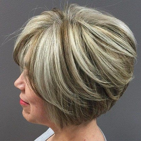 Amazing-Layered-Hair Short Bob Haircuts for Older Women