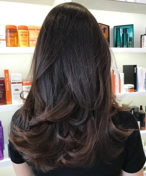 Armpit-Length-Brown-Hair-with-Curled-Ends Impressive Haircuts and Hairstyles for Long Dark Brown Hair