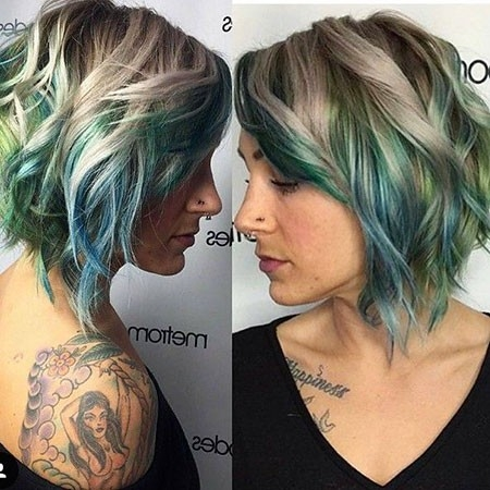 Blonde-and-Blue-Balayage Balayage Ombre Short Hair