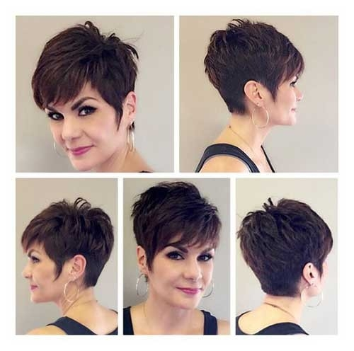 Cropped-Dark-Brown-Pixie Best Short Haircuts for Older Women